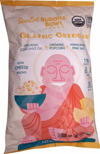 LesserEvil Buddha Bowl Foods Classic Cheddar Organic Popcorn Perspective: front