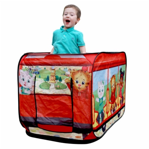 M&M Sales Enterprises MM00173 Daniel Tigers Neighborhood Trolley Pop Up Play Tent Perspective: front