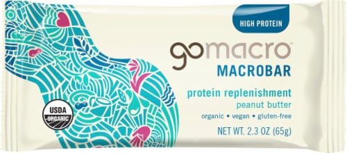 GoMacro MacroBar Gluten-Free Peanut Butter Bar Perspective: front
