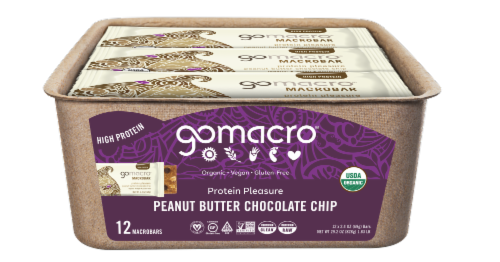 GoMacro MacroBar Peanut Butter Chocolate Chip Bars Perspective: front