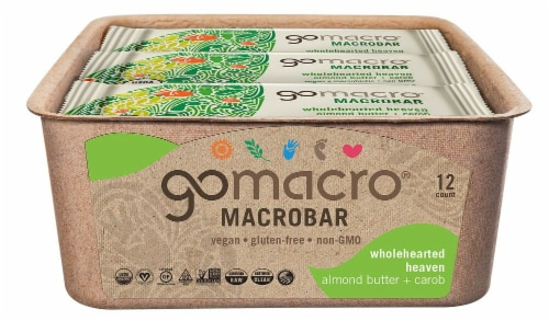 GoMacro MacroBar Wholehearted Heaven Almond Butter & Carob Bars Perspective: front