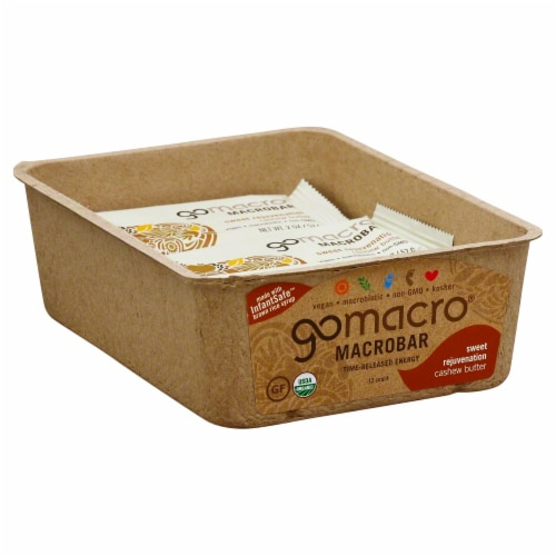 GoMacro MacroBar Sweet Rejuvenation Cashew Butter Bars Perspective: front