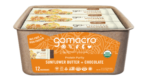 GoMacro MacroBar Sunflower Butter & Chocolate Bars Perspective: front