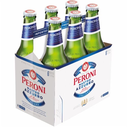 Peroni Nastro Azzurro Pale Lager Beer 6 Bottles Perspective: front