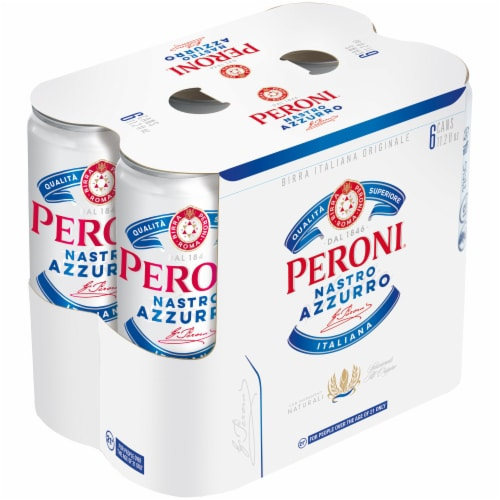 Peroni Nastro Azzuro Italian Lager 6 Cans Perspective: front