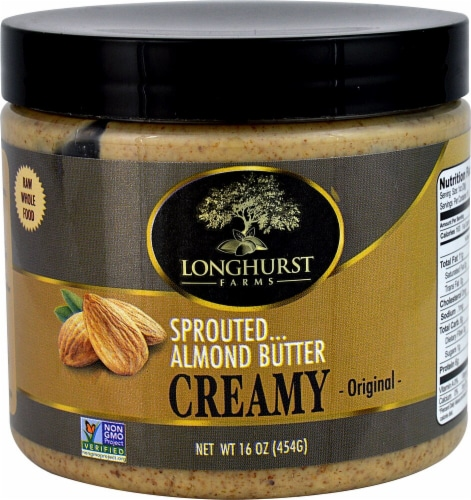 Sprouted Almonds  Longhurst Farms Creamy Sprouted Almond Butter   Original Perspective: front