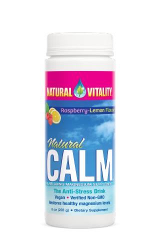 Natural Vitality Calm Raspberry-Lemon Anti-Stress Drink Perspective: front
