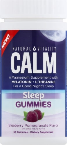 Natural Vitality Calm Blueberry Pomegranate Sleep Gummies Perspective: front