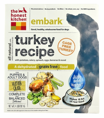 The Honest Kitchen  Embark® Dehydrated Dog Food for Puppies & Adult Dogs   Turkey Perspective: front