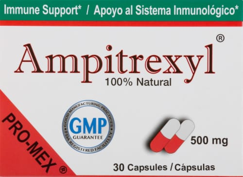 Pro-Mex Ampitrexyl Immune Support Supplement Capsules 500mg Perspective: front