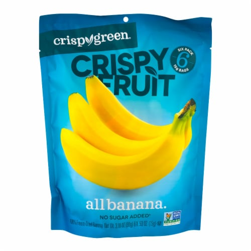 Crispy Green Crispy Fruit Freeze Dried Bananas Perspective: front