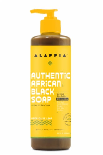 Alaffia Authentic African Black Hemp Olive Leaf Soap Perspective: front