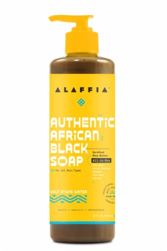 Alaffia Authetnic African Black Salt Stone Water Soap Perspective: front