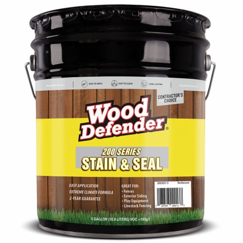 Wood Defender 200 Series Redwood Transparent Stain & Sealer 5-gallon Perspective: front