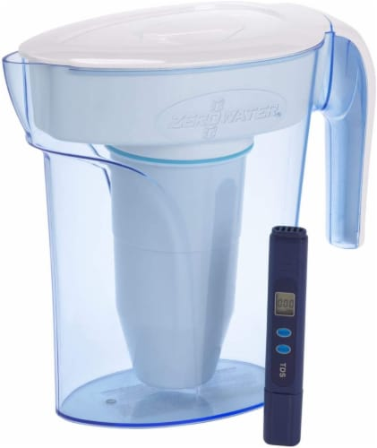 Zerowater 6-Cup Pitcher with Water Filter - Translucent Blue Perspective: front