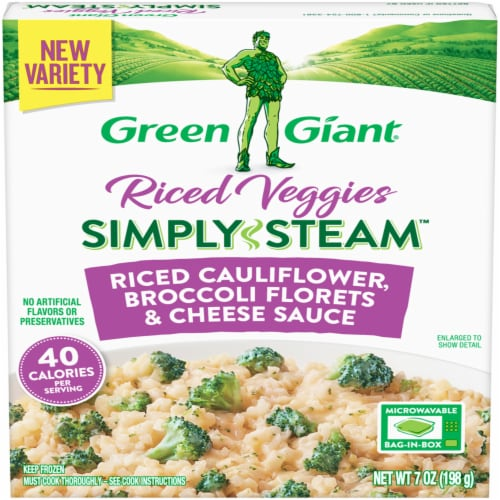 Green Giant Riced Veggies Simply Steam Riced Cauliflower Broccoli Florets & Cheese Sauce Perspective: front
