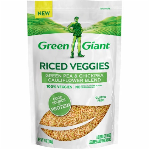 Green Giant Riced Veggies Green Pea & Chickpea Cauliflower Blend of Dried Legumes & Vegetables Perspective: front