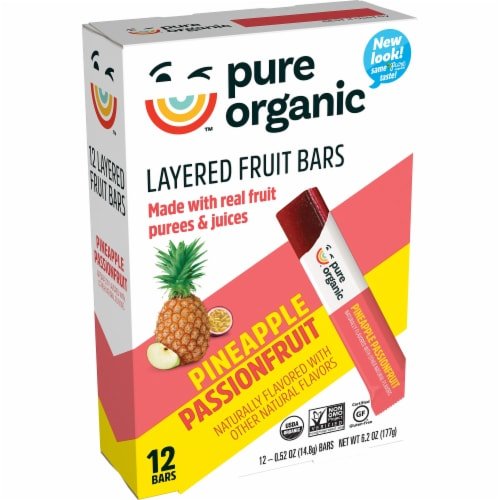 Pure Organic Pineapple Passionfruit Layered Fruit Bars Perspective: front