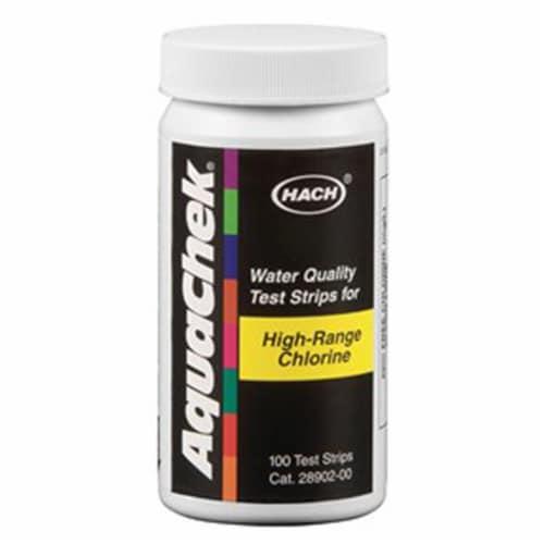 Hach 652013 AquaChek Hi-Range Free Chlorine Test Strips Perspective: front