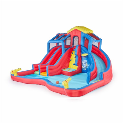 Banzai Hydro Blast Inflatable Play Water Park with Slides and Water Cannons Perspective: front