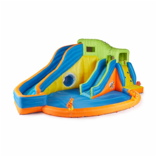 Banzai Pipeline Twist Kids Inflatable Outdoor Water Pool Aqua Park and Slides Perspective: front
