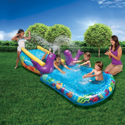 Banzai Kid Toddler Outdoor Inflatable My First Water Slide and Splash Pool Perspective: front
