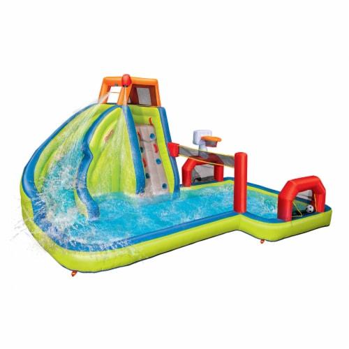Banzai Aqua Sports Kids Inflatable Outdoor Backyard Water Slide Splash Park Perspective: front