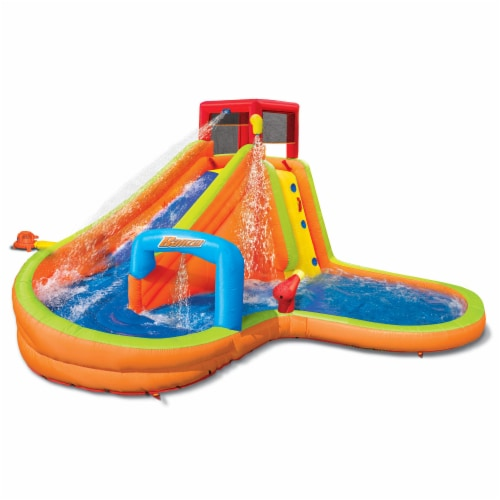 Banzai Lazy River Inflatable Outdoor Adventure Water Park Slide and Splash Pool Perspective: front