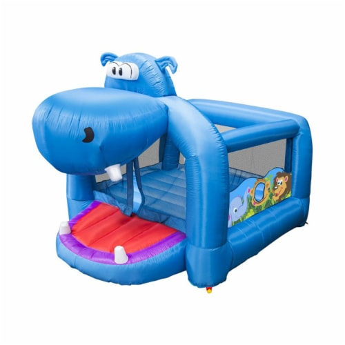 Banzai Happy Hippo Inflatable Bouncer Blow Up Bouncing House w/ Mesh Walls Perspective: front