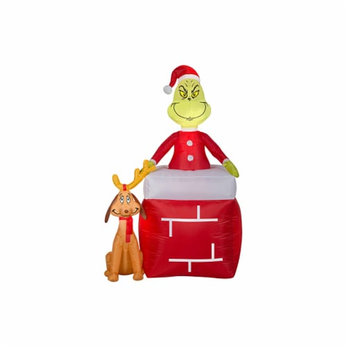 Good Tidings Airblown Grinch and Max Decor Perspective: front