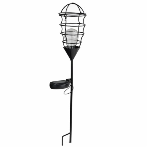 Northlight 32590315 23.5 in. Black Geometric Solar Powered LED Outdoor Patio Metal Lantern wi Perspective: front