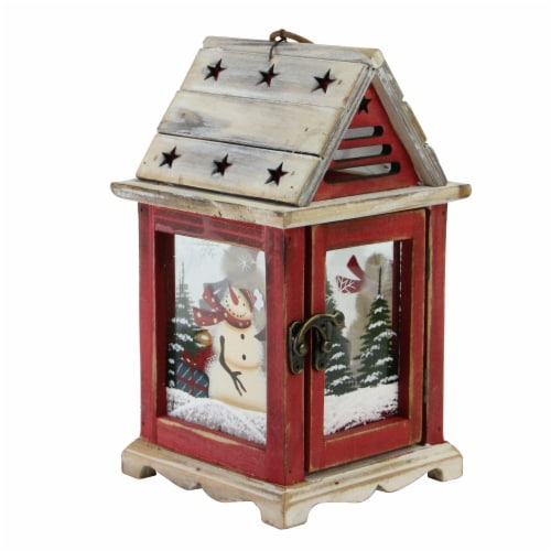 Northlight 32618593 11 in. Snowman & X-Mas Pillar Candle Lantern Perspective: front