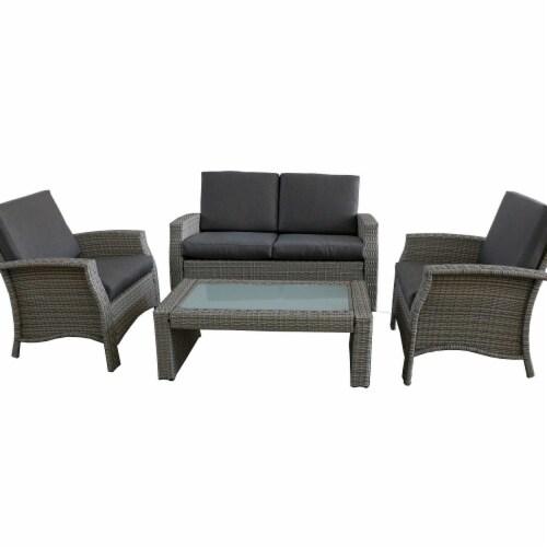 Northlight 32591330 4 Piece Gray Resin Wicker Outdoor Patio Furniture Set - Gray Cushions Perspective: front