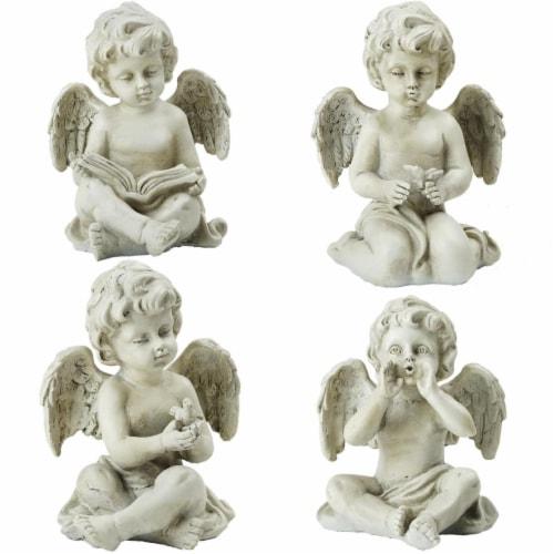 Northlight 32589204 6.5 in. Decorative Sitting Cherub Angel Outdoor Garden Statues - Set of 4 Perspective: front
