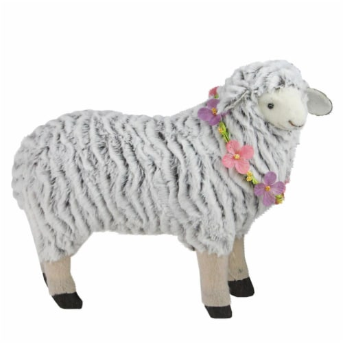Northlight 32728977 13 in. White & Brown Plush Standing Sheep Spring Easter Figure Perspective: front
