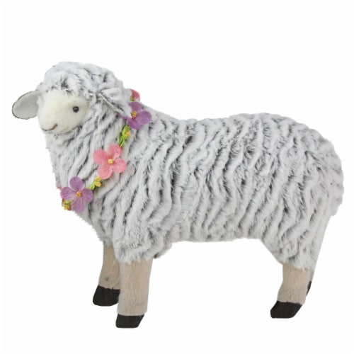 Northlight 32728978 13 in. White & Black Plush Standing Sheep Spring Easter Figure Perspective: front