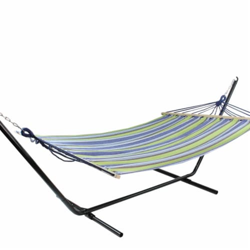 Northlight 32816522 55 x 78 in. Stripe Poly Cotton Hammock with Wooden Bars & Tassels, Lime G Perspective: front