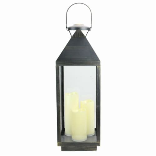 Northlight 32816042 24 in. Large Gold Brushed & Black Candle Lantern with Flameless LED Candl Perspective: front