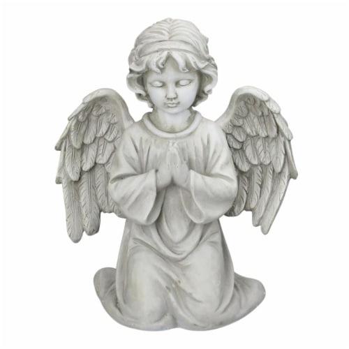 Northlight 33377763 15 in. Kneeling in Prayer Cherub Outdoor Garden Statue Perspective: front