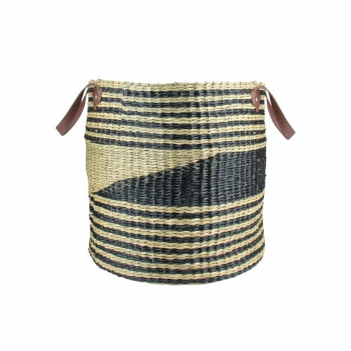 Northlight 15.5 in. Natural & Black Woven Seagrass Basket with Vegan Leather Handles Perspective: front