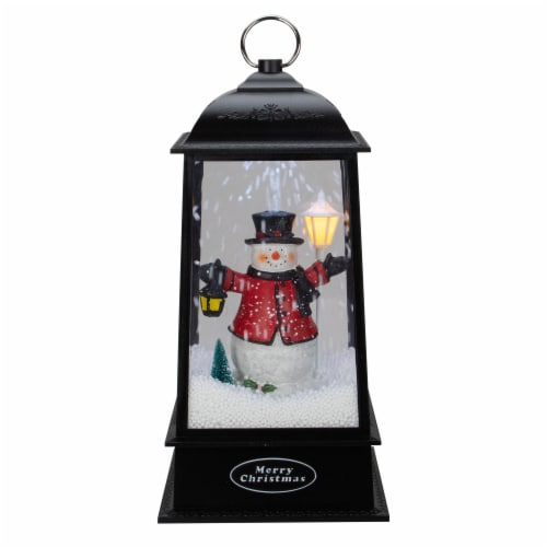 Northlight 33663820 13 in. Lighted Snowman Christmas Lantern with Falling Snow Perspective: front