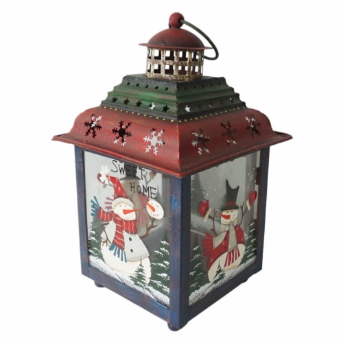 Northlight 33912034 11 in. Snowman Christmas Candle Lantern - Green, Red & Blue Perspective: front