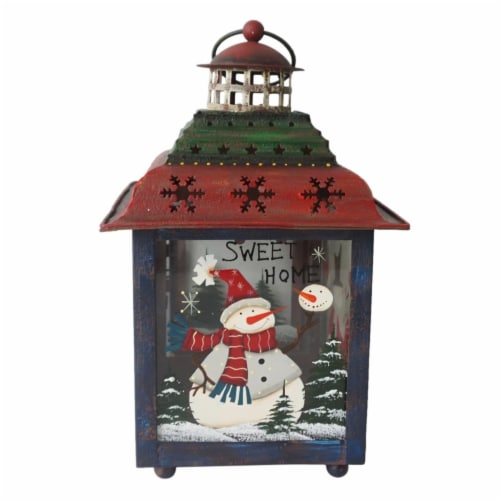 Northlight 33912035 15 in. Snowman Christmas Candle Lantern - Red, Green & Blue Perspective: front