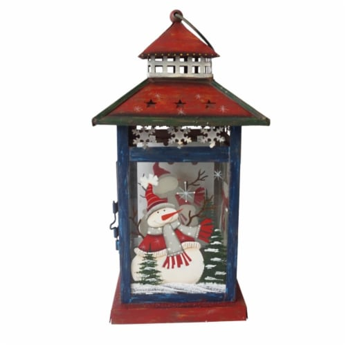 Northlight 33912036 12.75 in. Snowman Let It Snow Christmas Lantern - Red, White & Black Perspective: front