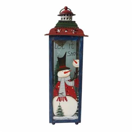 Northlight 33912038 15 in. Snow Christmas Lantern - Red, White & Green Perspective: front