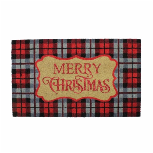 Northlight 33841577 30 x 18 in. Red & Black Plaid Merry Christmas Outdoor Mat Perspective: front