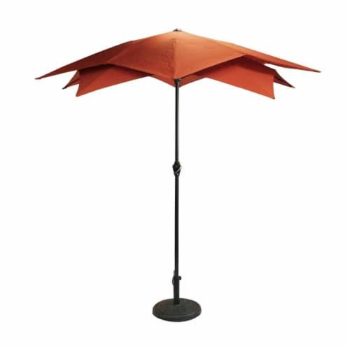 Northlight 34219512 8.85 ft. Outdoor Patio Lotus Umbrella with Hand Crank, Terracotta Perspective: front