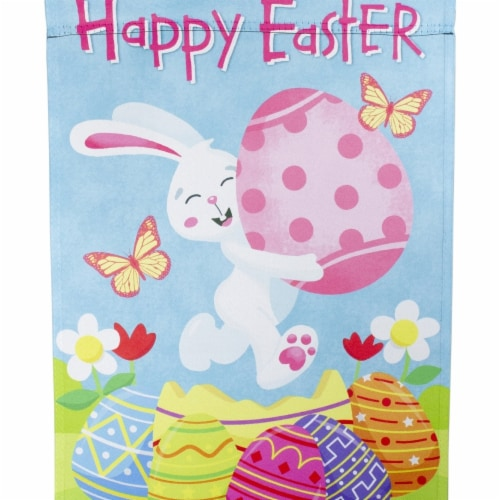 Northlight 34219483 Happy Easter Bunny with Eggs Outdoor Garden Flag - 12.5 x 18 in. Perspective: front