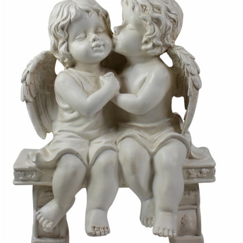 NorthLight 34338756 10 in. Kissing Cherubs Sitting on Bench Outdoor Garden Statue, Gray Perspective: front