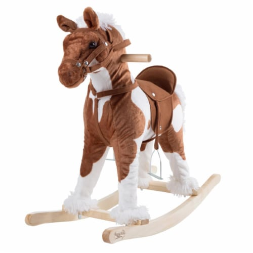 Rocking Horse Plush Animal on Wooden Rockers - Clydesdale Perspective: front
